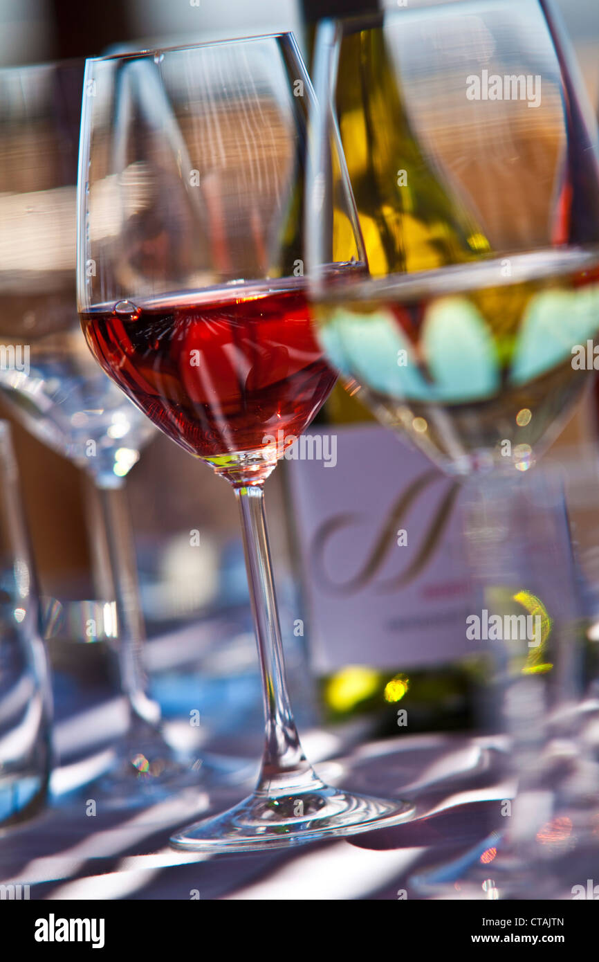Wine glasses on table, Stellenbosch, Kapstadt, Western Cape, South Africa - Stock Image