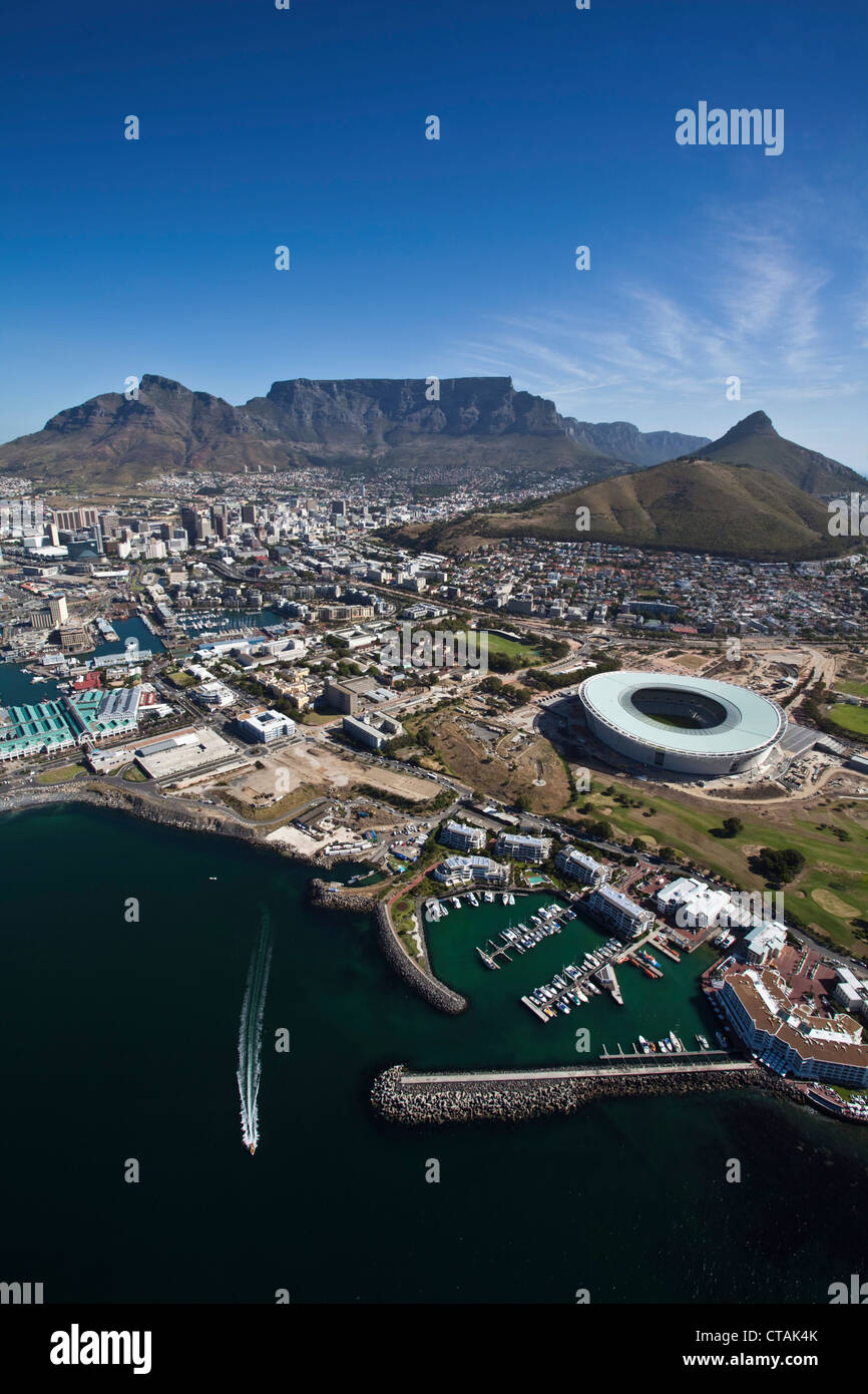 Aerial View onto and Greenpoint Stadium, Cape Town, Western Cape, South Africa - Stock Image