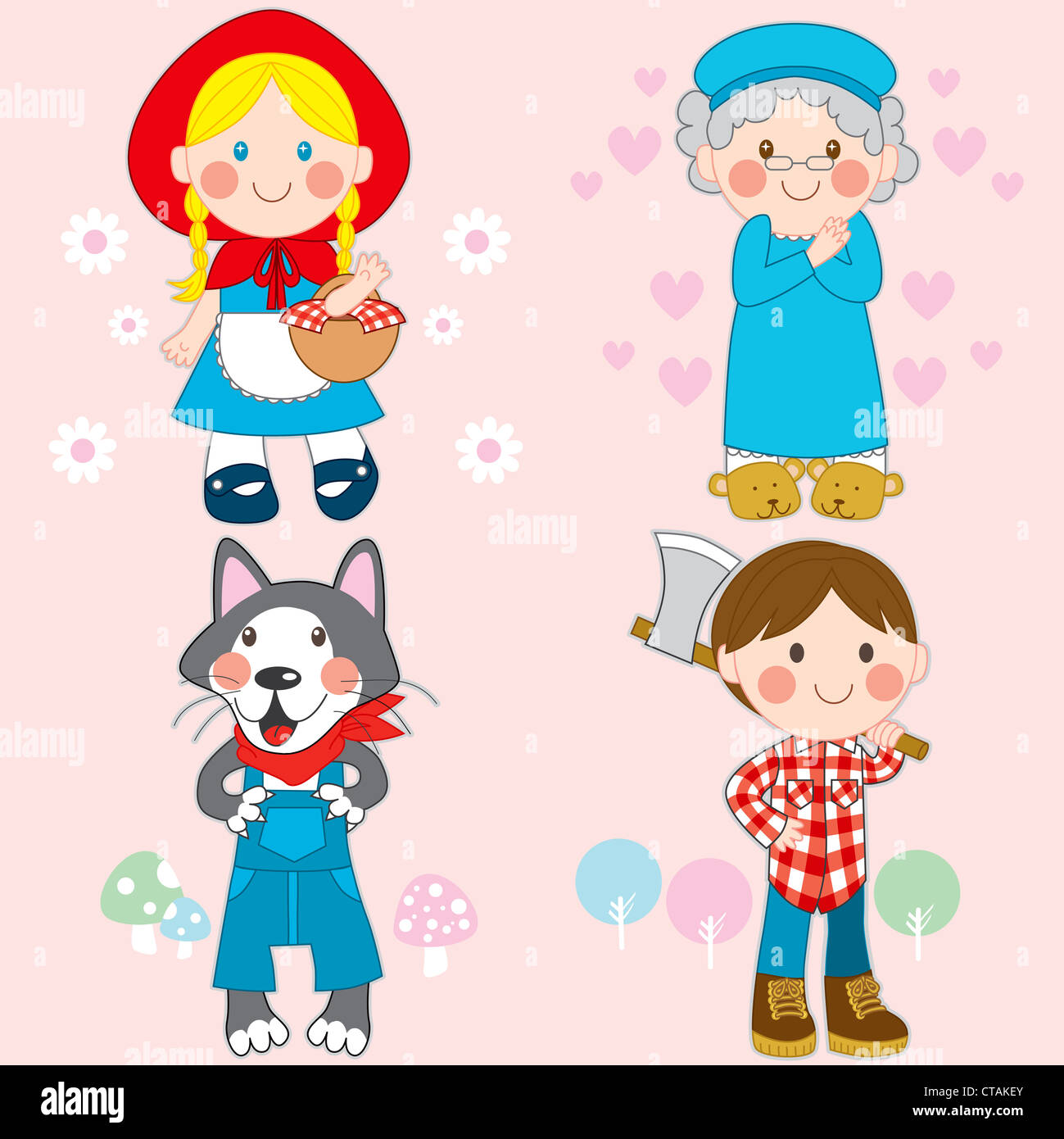 Set Of Characters From Little Red Riding Hood Fairy Tale Stock