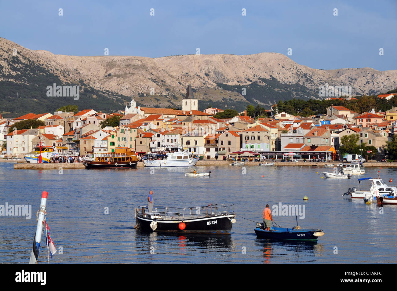 View towards Baska, Krk Island, Kvarnen Gulf, Croatia - Stock Image
