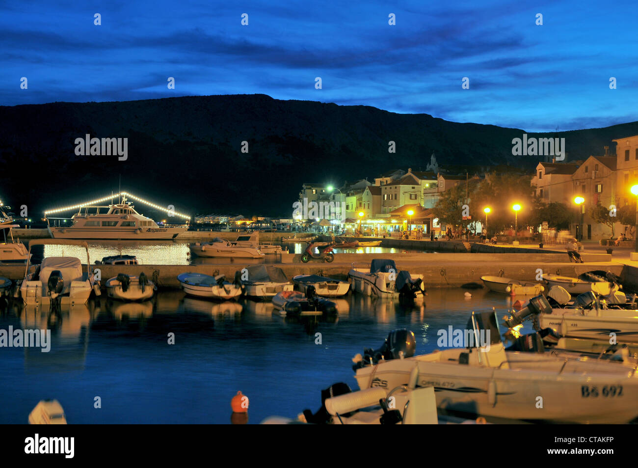 Boats in Baska harbour, Krk Island, Kvarnen Gulf, Croatia - Stock Image