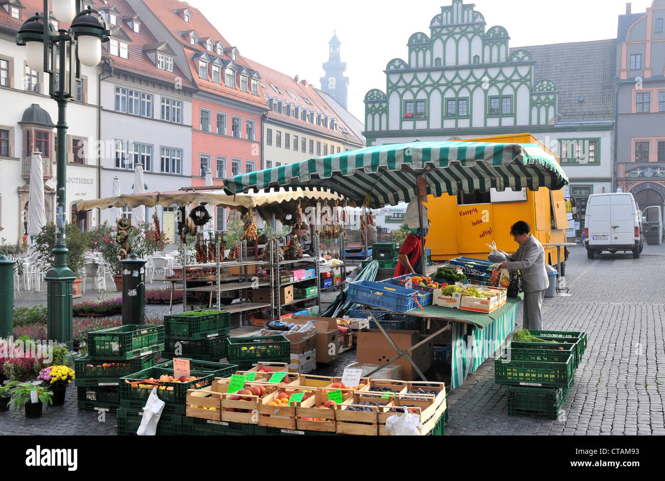 Market on the market square, Weimar, Thuringia, Germany - Stock Image