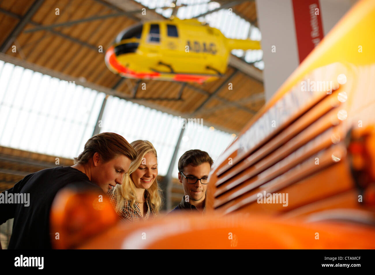 Students in the Transport Museum, Deutsches Museum, German Museum, Munich, Bavaria, Germany - Stock Image