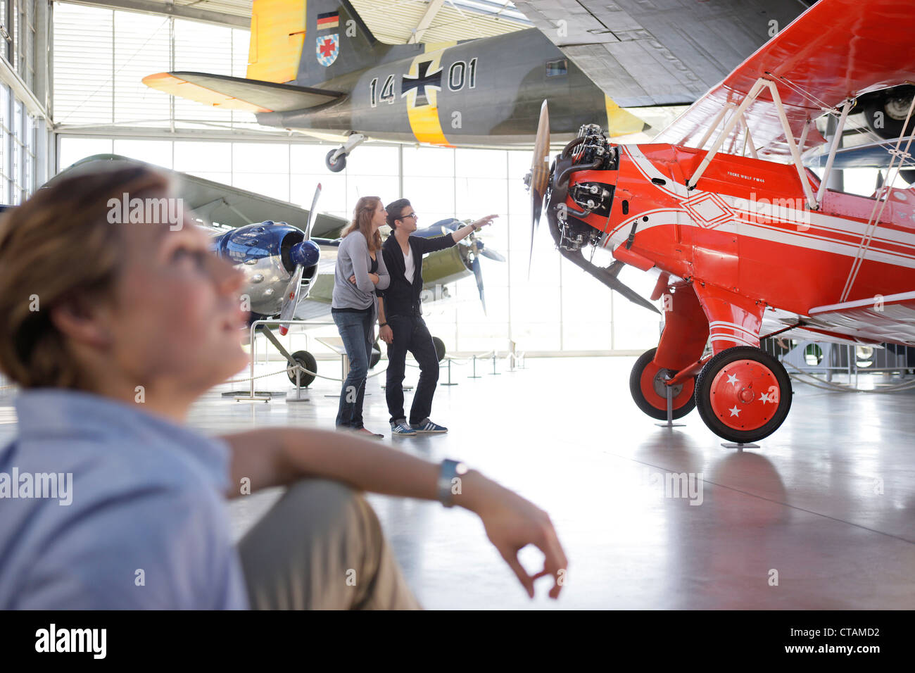 Students in the Aviation Museum, Deutsches Museum, German Museum, Oberschleissheim, Munich, Bavaria, Germany - Stock Image