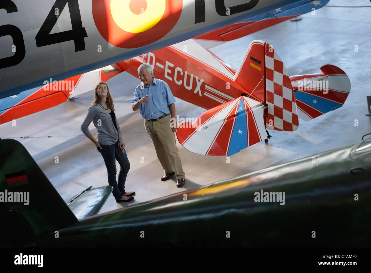 Visitors in the Aviation Museum, Deutsches Museum, German Museum, Oberschleissheim, Munich, Bavaria, Germany - Stock Image
