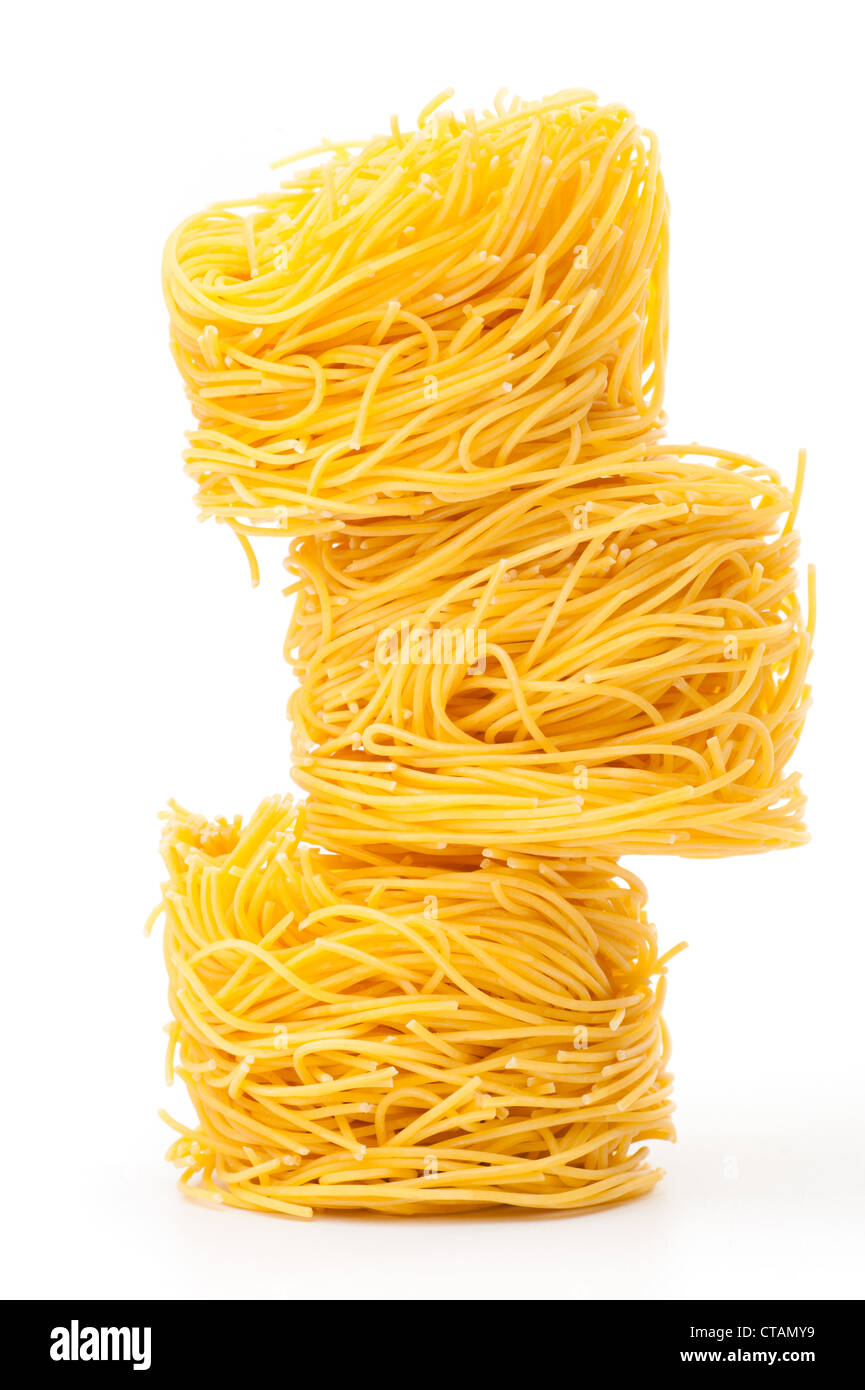 Fresh unprepared noodles - Stock Image