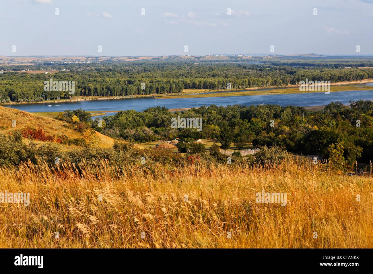 Open air museums village of Mandan indians, Abraham Lincoln State Park, Bismarck, Burleigh County, North Dakota, - Stock Image