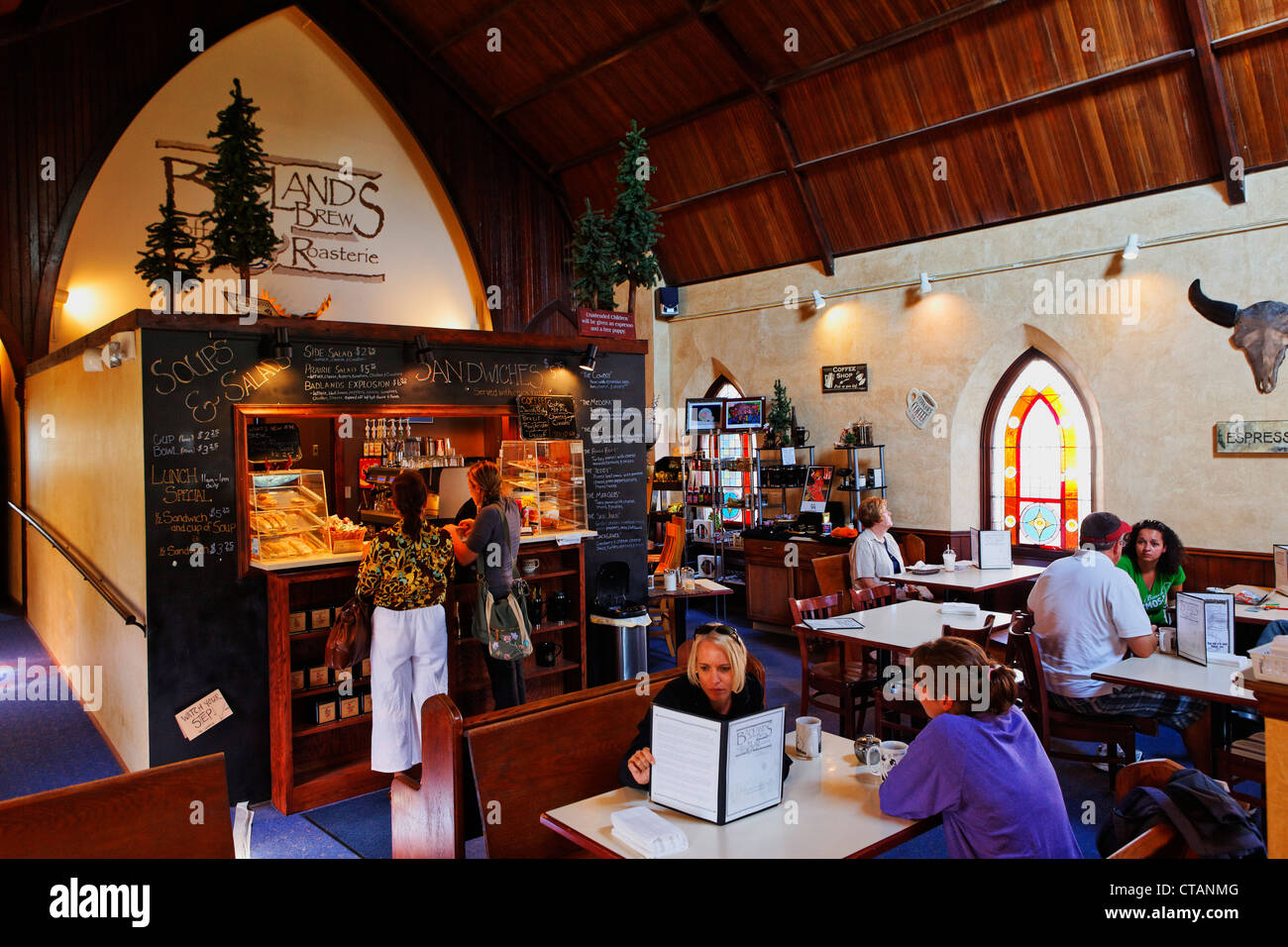 Guests at the Badlands Brew Cafe, Dickinson, Stark County, North Dakota, USA - Stock Image
