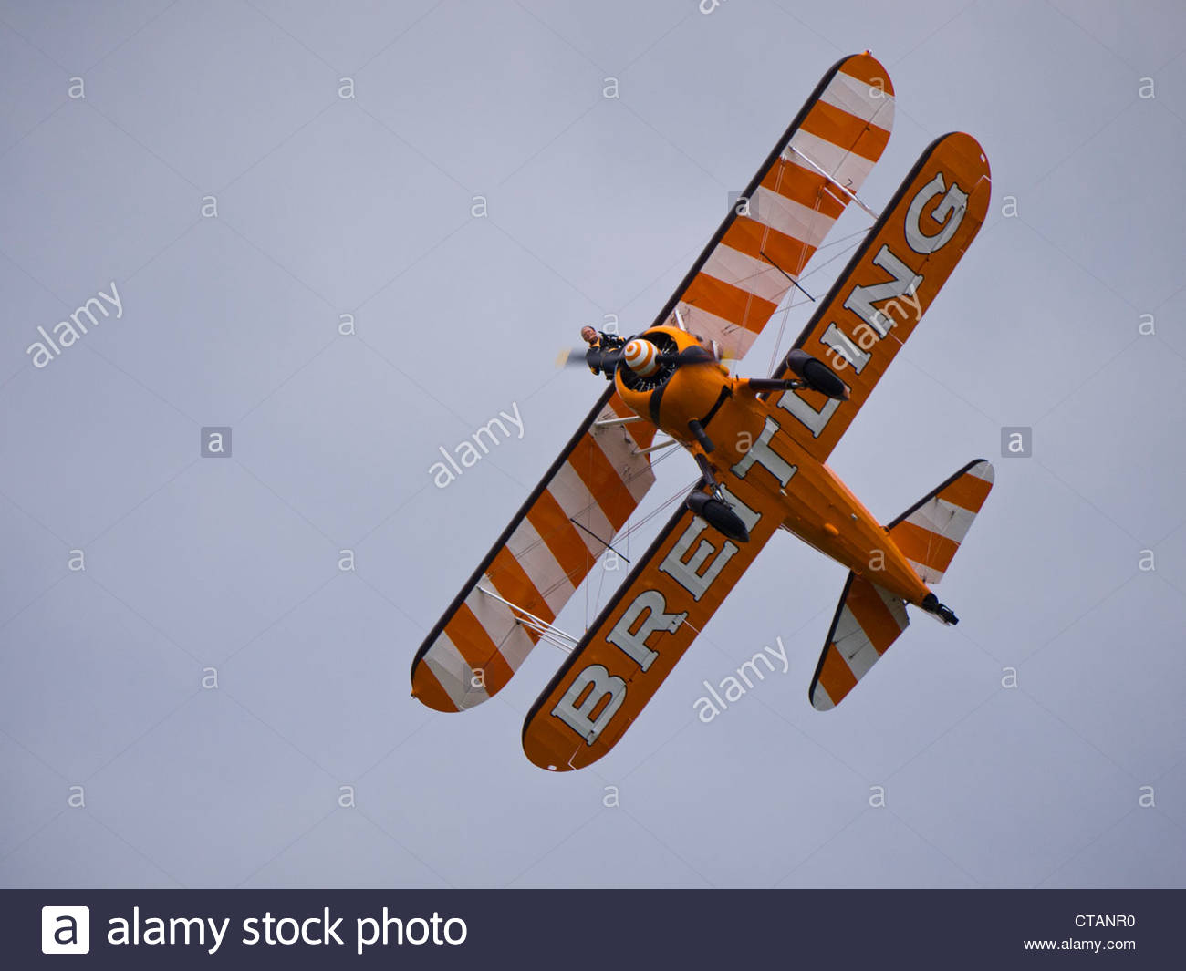 Single Breitling Wing Walkers looking down though Prop Farnborough 2012 - Stock Image