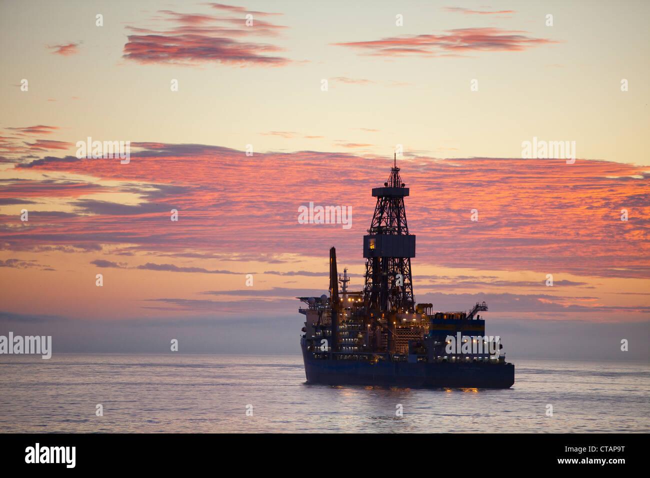 Oil drilling ship Pacific Mistral, Pacific Drilling, at sunrise, near Rio de Janeiro, Rio de Janeiro, Brazil, South America Stock Photo