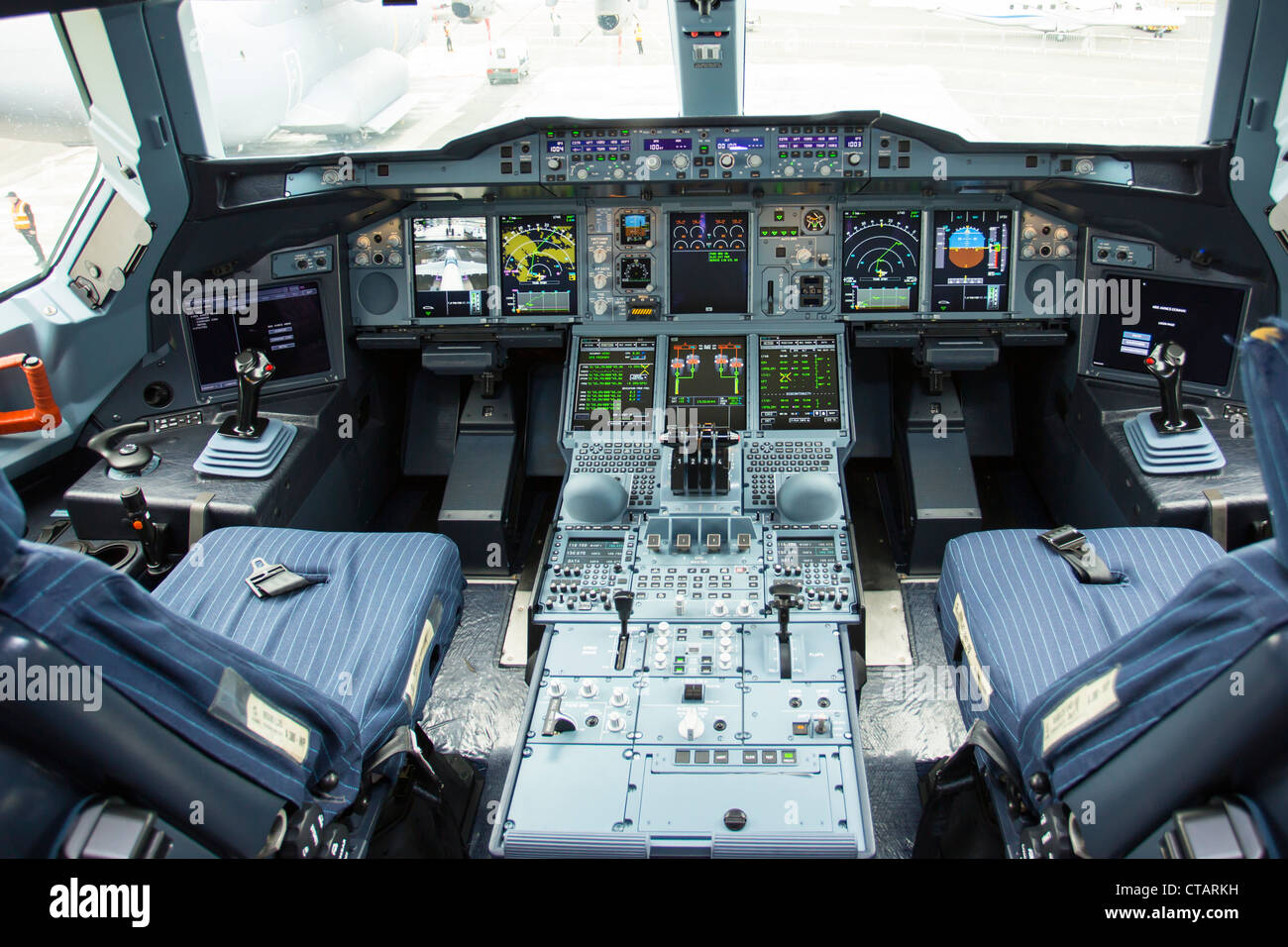 Airbus A380 Flightdeck Malaysia Airlines Stock Photo