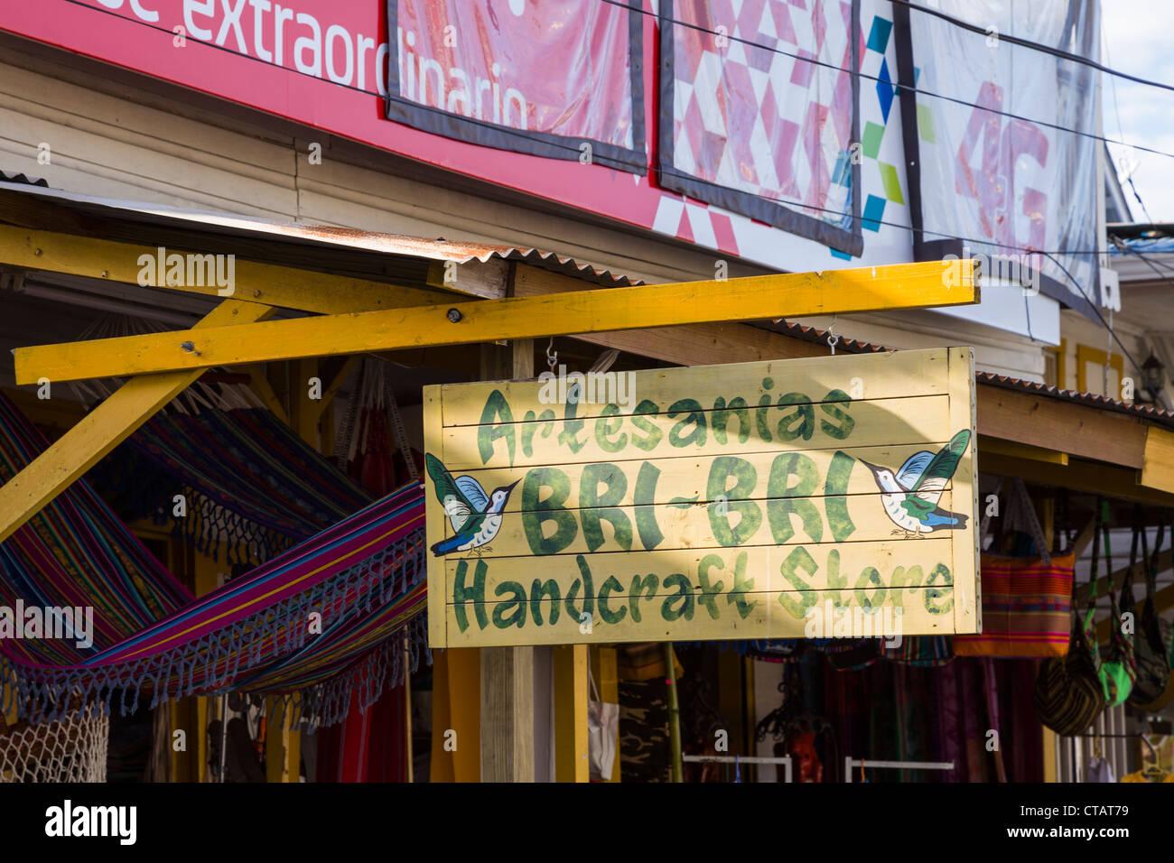 Bri-bri hand craft store in Bocas Town on Isla Colon, Bocas del Toro, Panama. Stock Photo