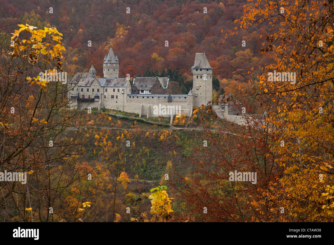 View of Altena castle on a spur, Sauerland, North Rhine-Westphalia, Germany, Europe - Stock Image