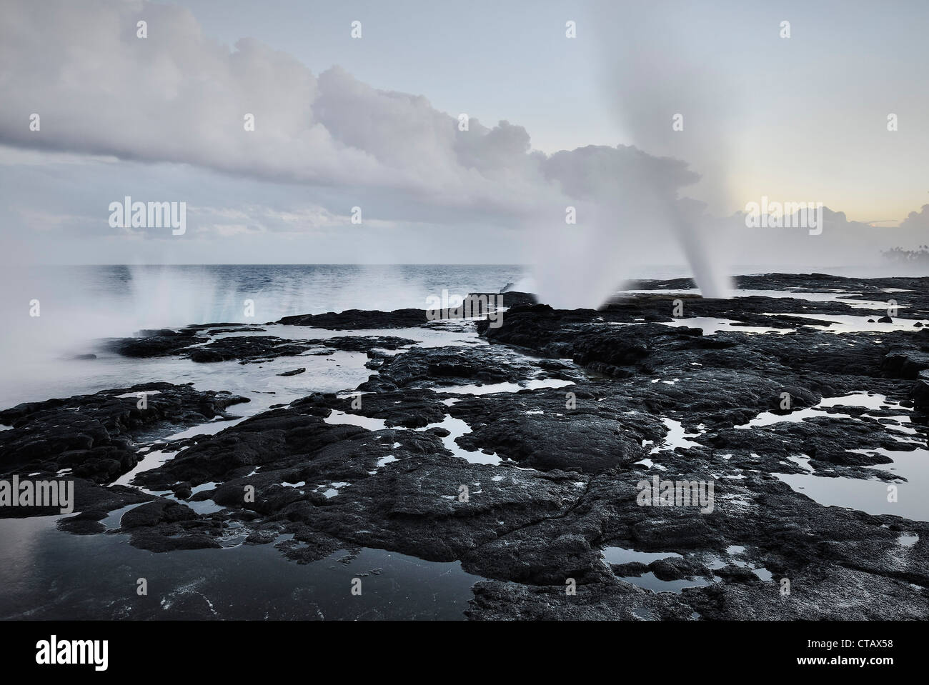 Alofaafa Blowholes, lava fields, south coast, Savaii, Samoa, Southern Pacific island - Stock Image