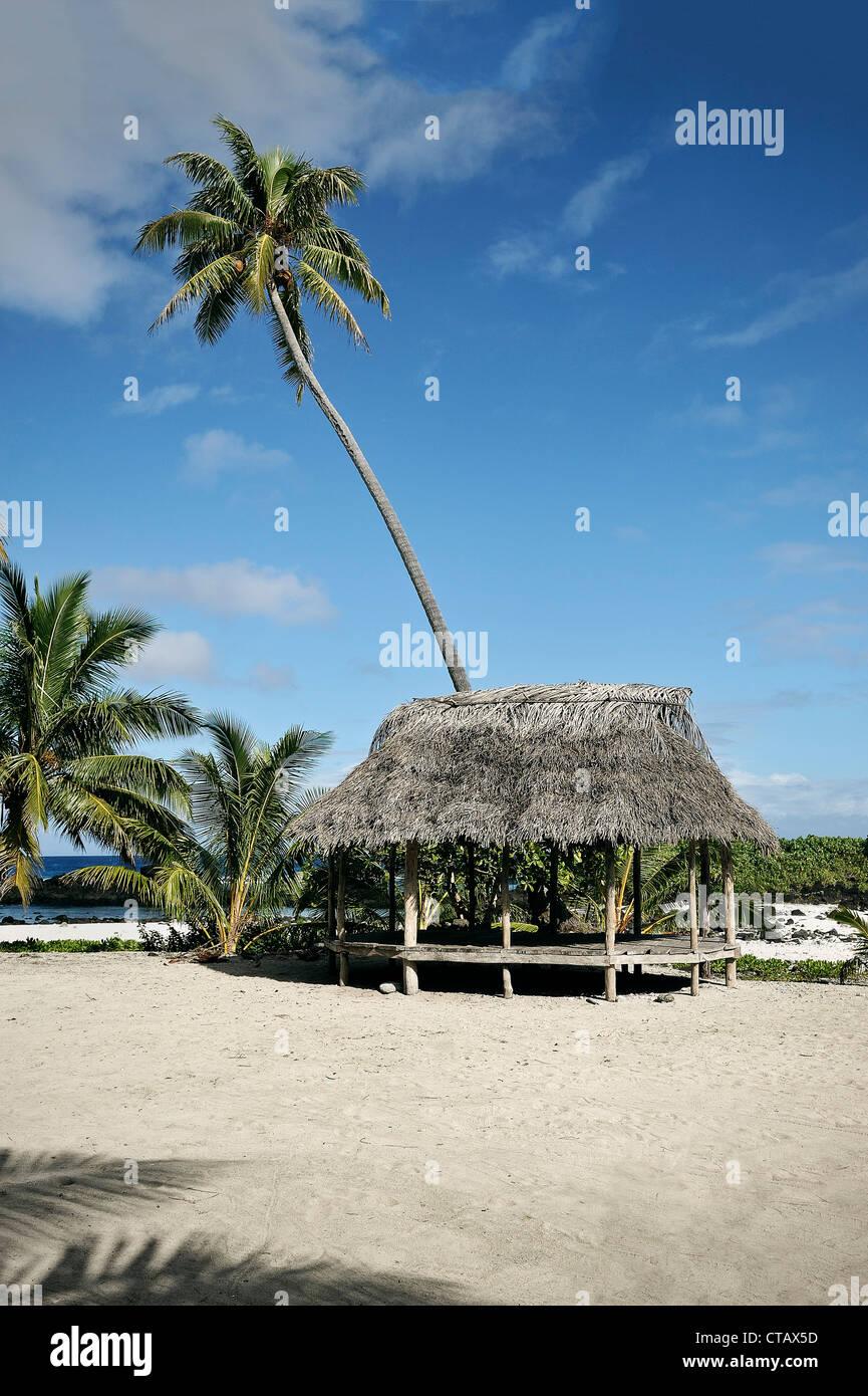 beach Fale, typical samoan accomodation without walls, Savaii, Samoa, Southern Pacific island - Stock Image