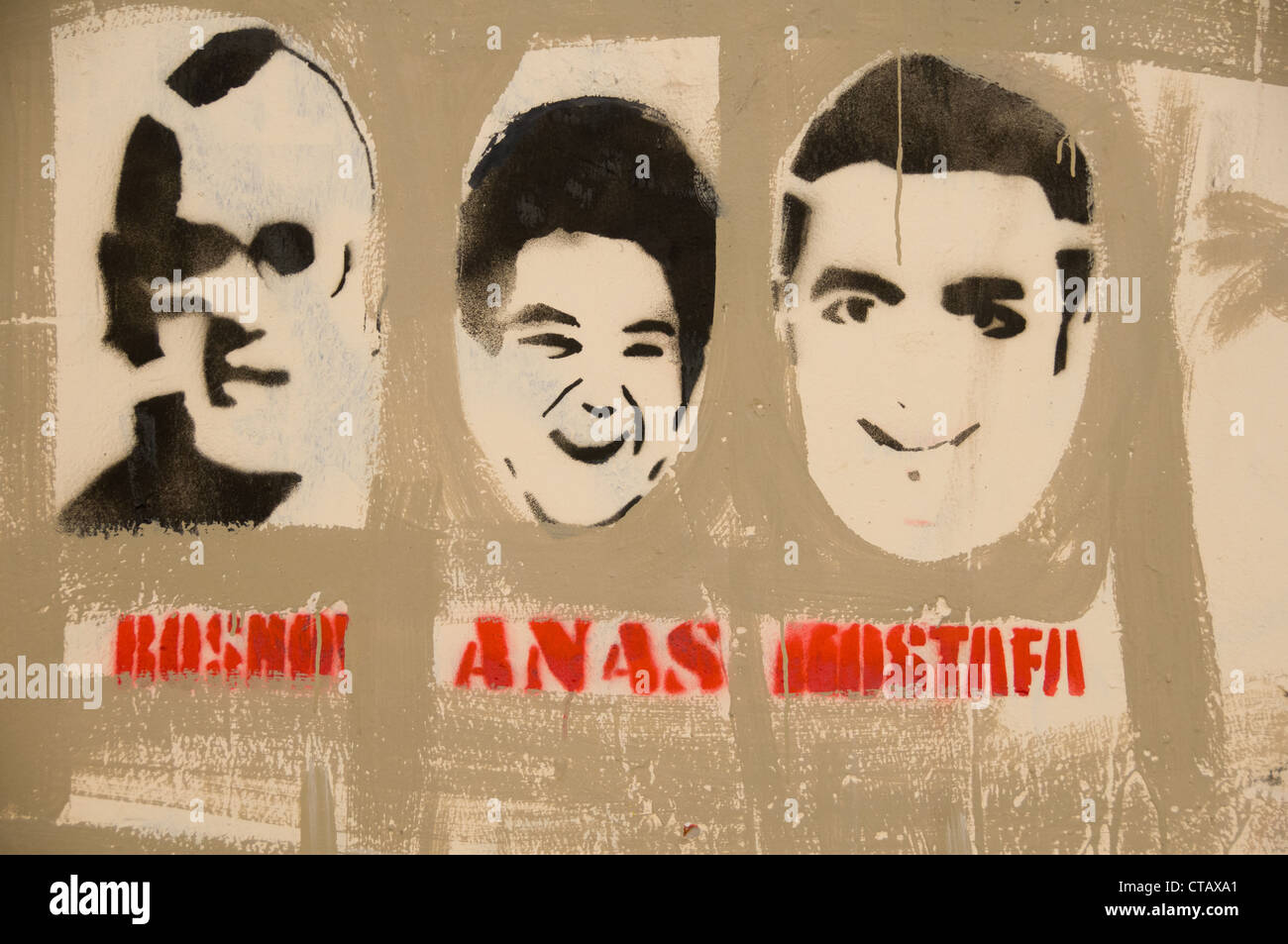 The martyrs of the Egyptian Revolution. With Anas ( in the middle) being the youngest one on this graffiti downtown Stock Photo