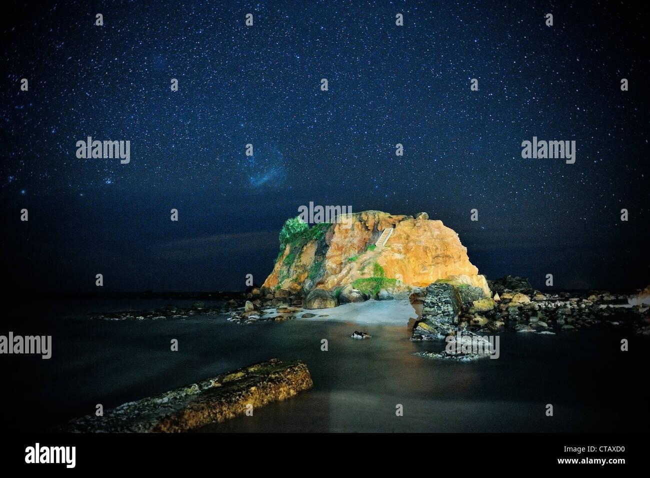 Stars in the sky at Mirissa beach, around Matara, Sri Lanka - Stock Image