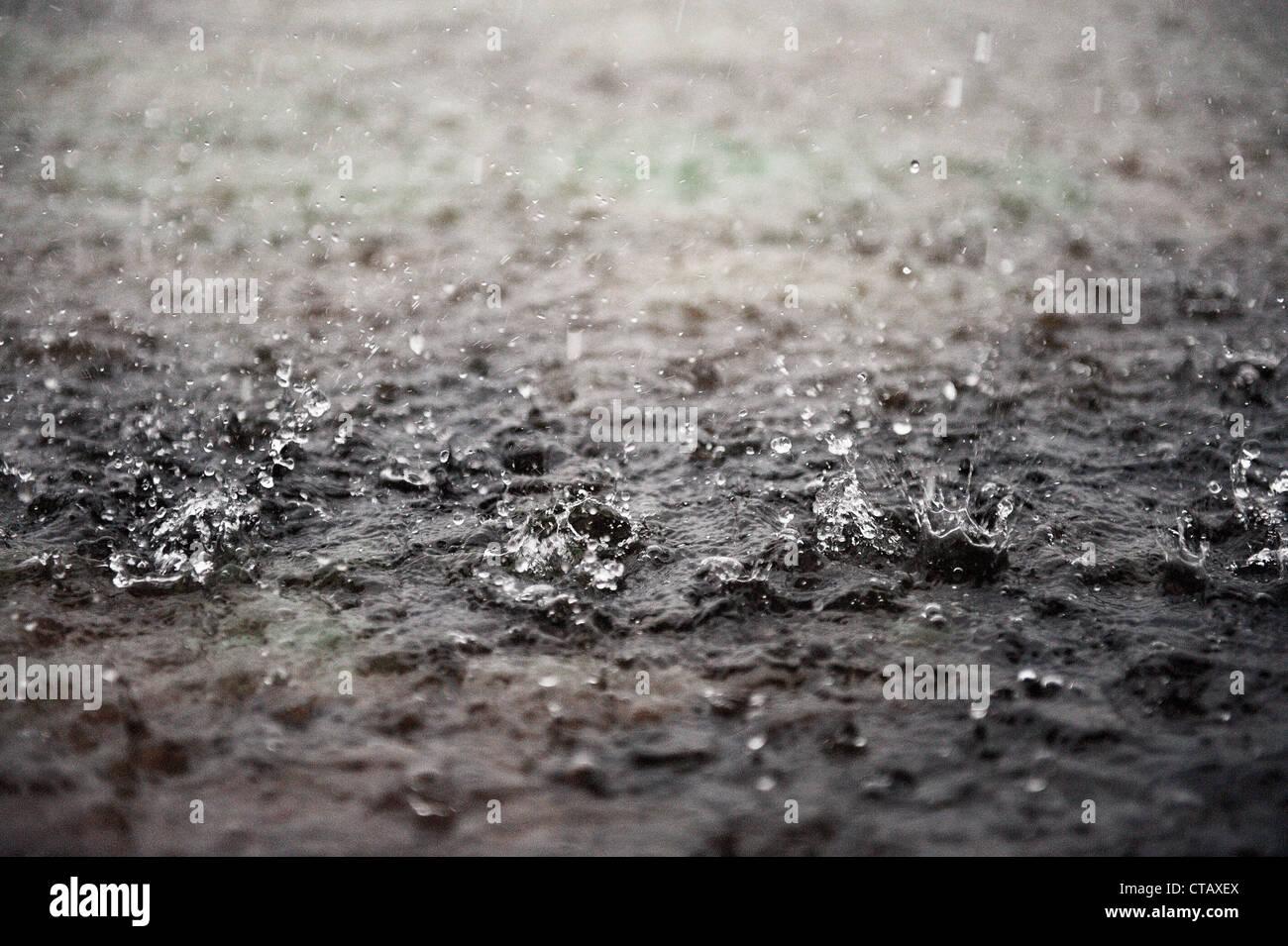 Detail of rain drops during monsoon, Nilaveli, Sri Lanka - Stock Image