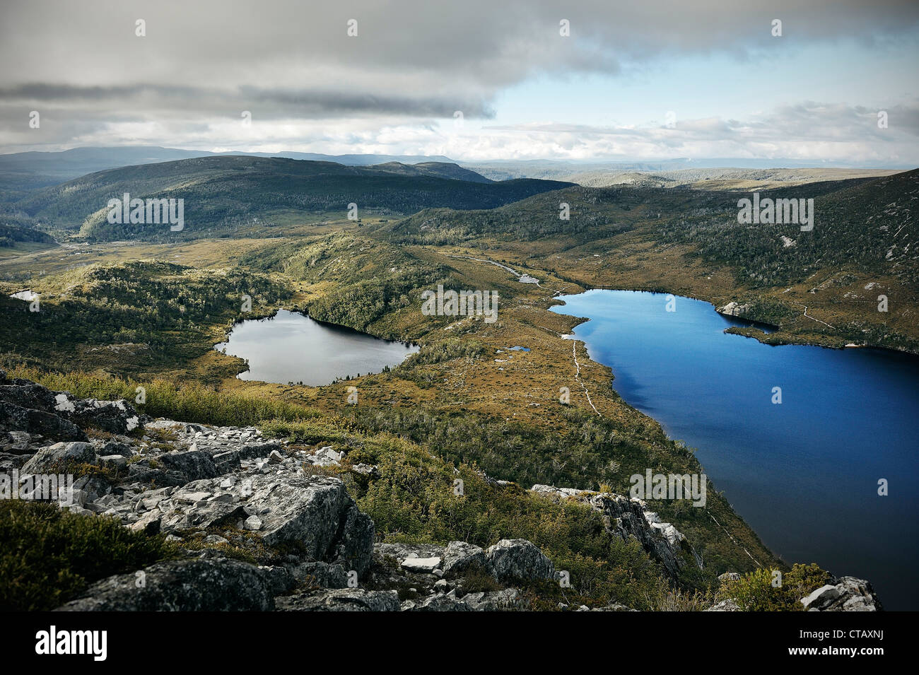 Viewpoint Marions lookout acorss Tasmanias wilderness and Dove Lake, Overland Track, Cradle Mountain Lake St Clair - Stock Image