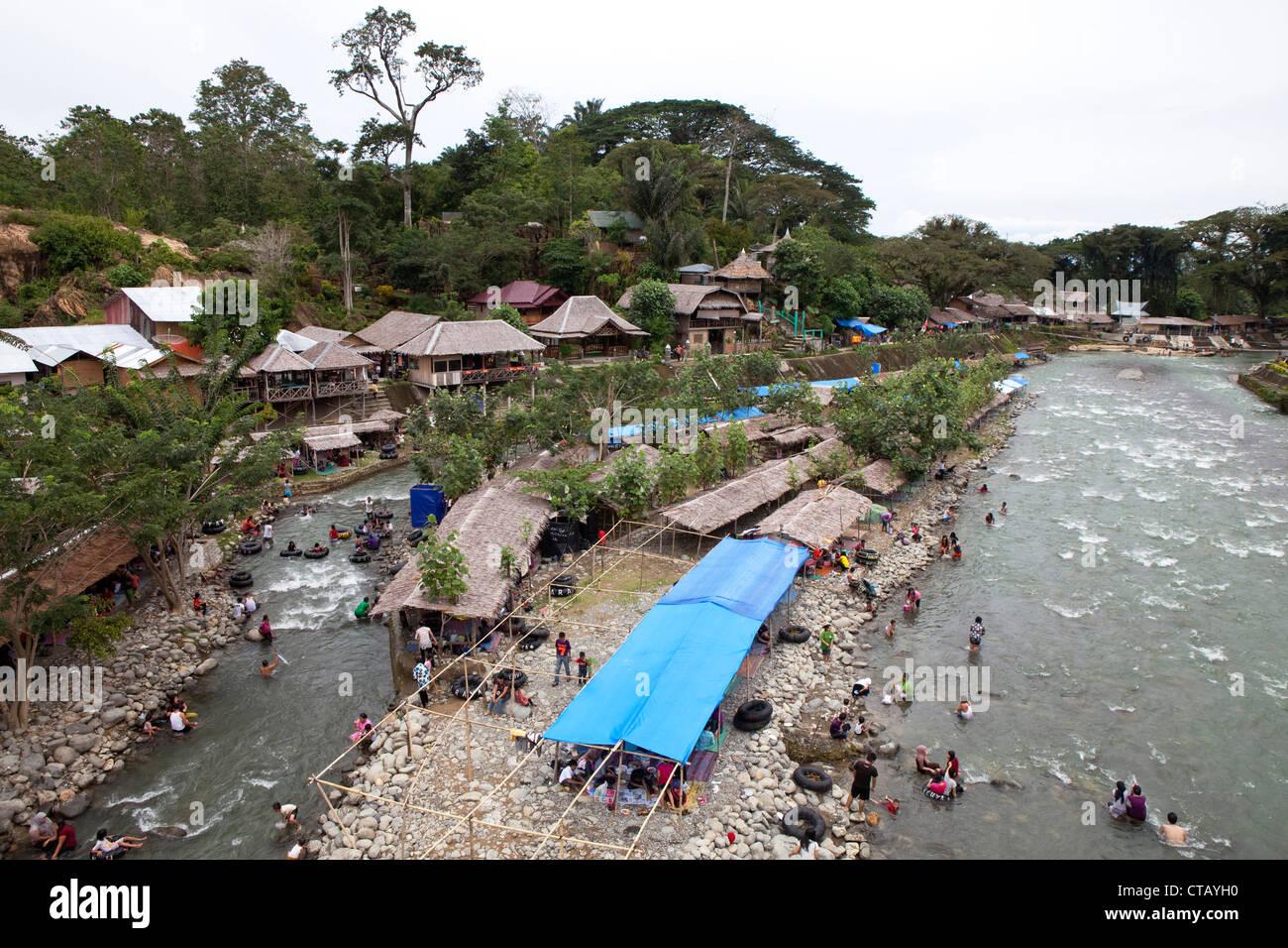 Bukit Lawang at the Bahorok river in North Sumatra province, Island of Sumatra, Indonesia, Southeast Asia - Stock Image