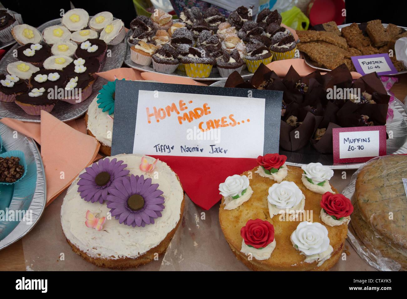 Cakes at the Ugborough Fair Devon - Stock Image