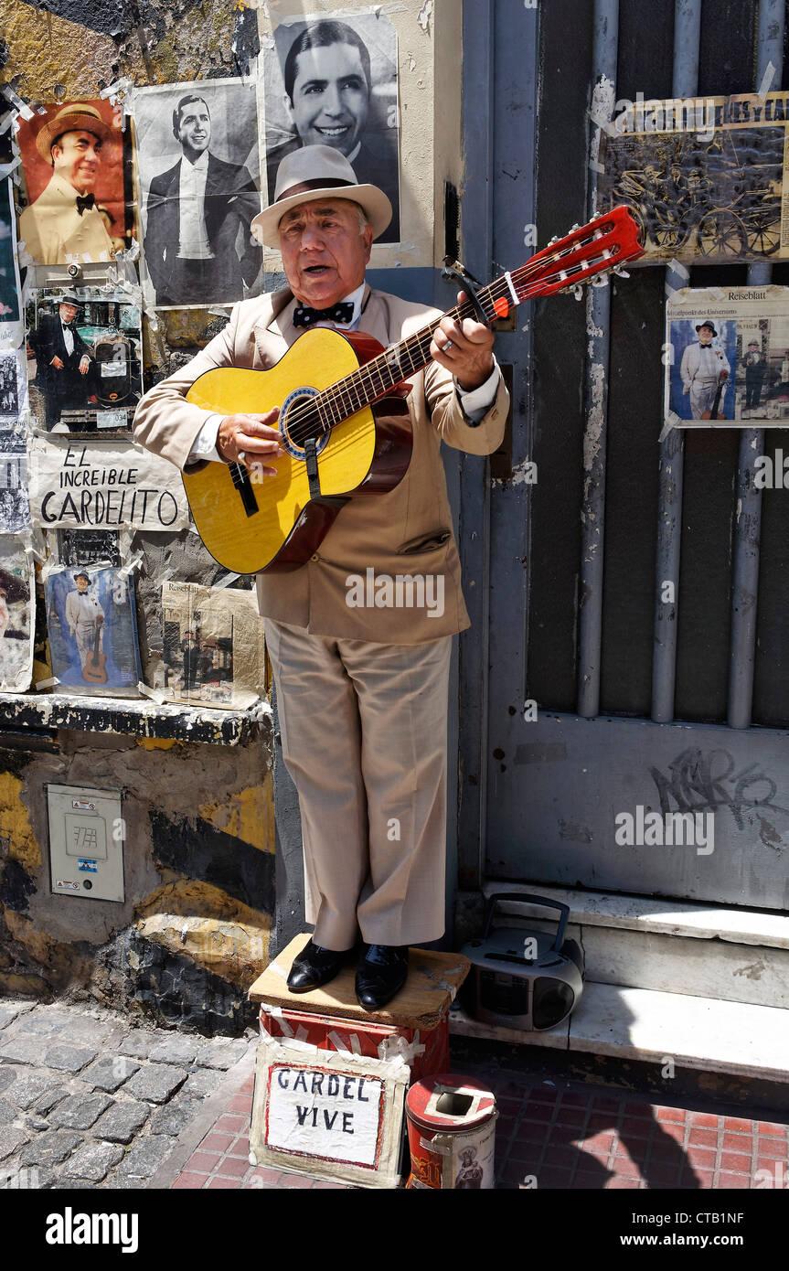 Gardelito, Tango street musician with guitar, San Telmo, near Plaza Dorrego, Buenos Aires, Argentina - Stock Image