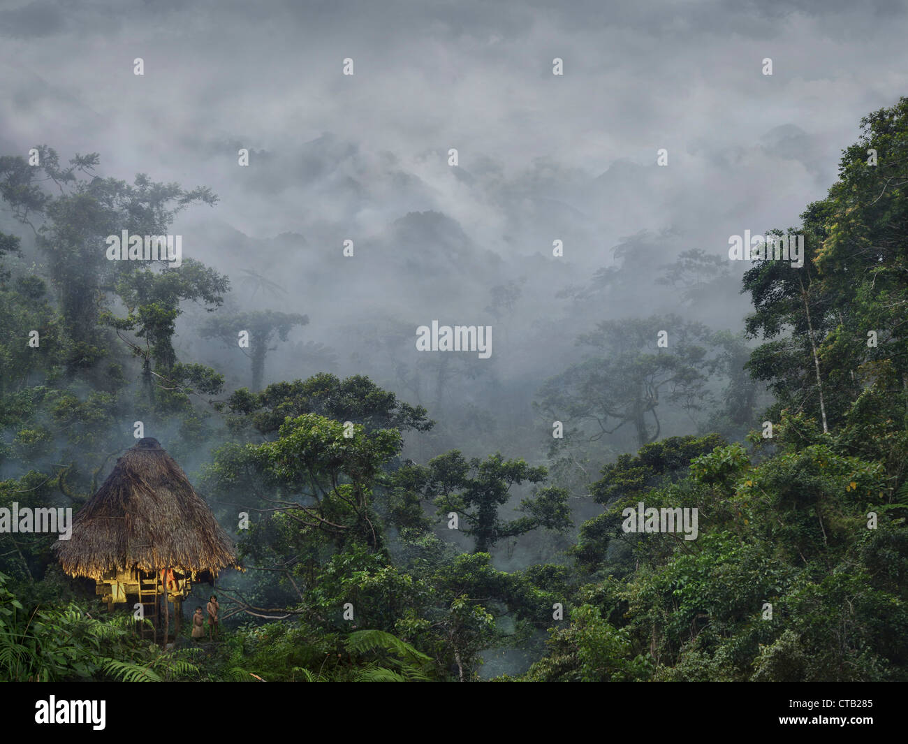 Ifugao children beside hut in a tropical rainforest, Banaue, Ifugao, Luzon Island, Philippines, Asia - Stock Image