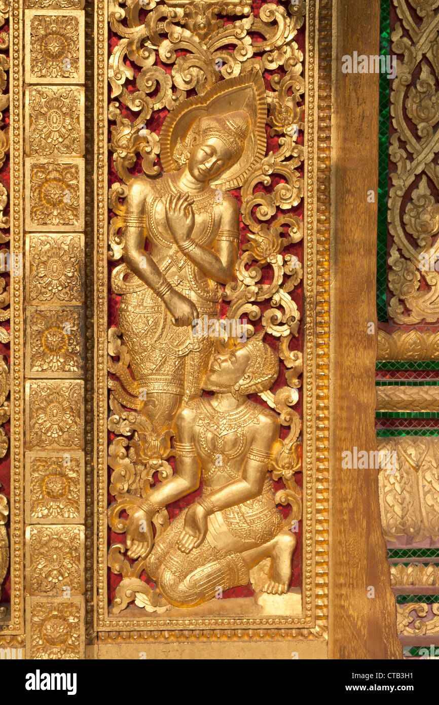 Detail of the main door of Sala Pha Bang Temple, Luang Prabang, Laos. - Stock Image