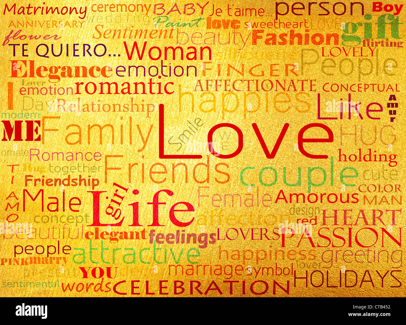 Seamless pattern made from words which relate with word love - Stock Image