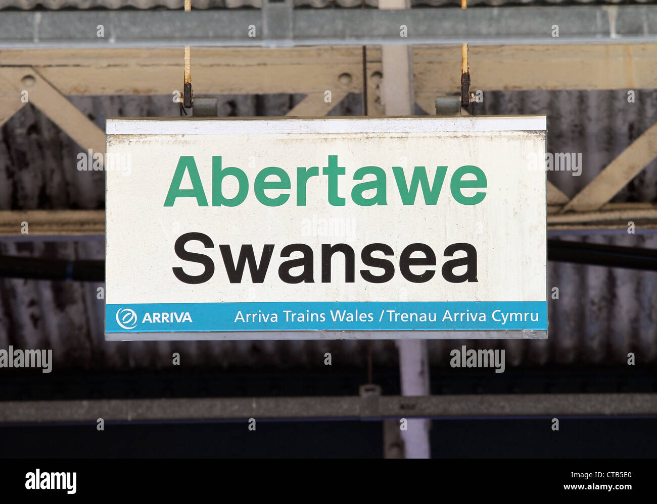A Swansea Railway Station sign, south Wales, UK - Stock Image