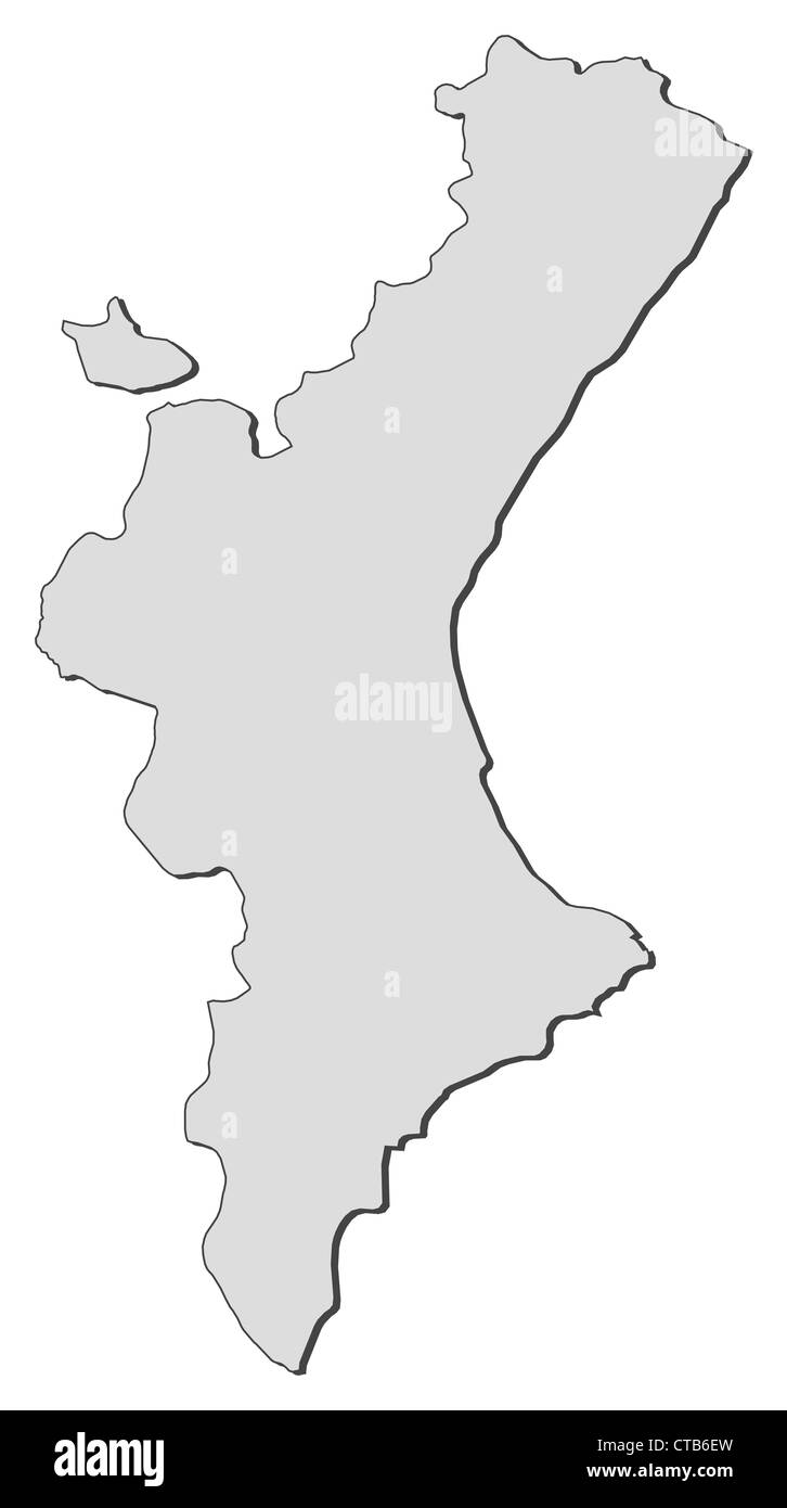 Map of Valencian Community, a region of Spain. - Stock Image