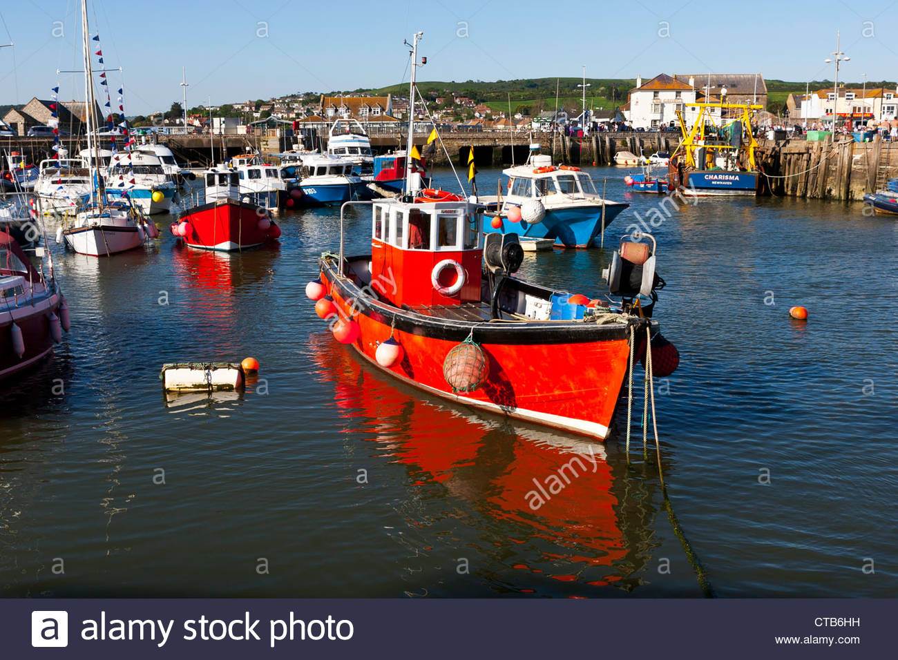 Fishing boats moored in West Bay Horbour,  Bridport, Dorset - Stock Image