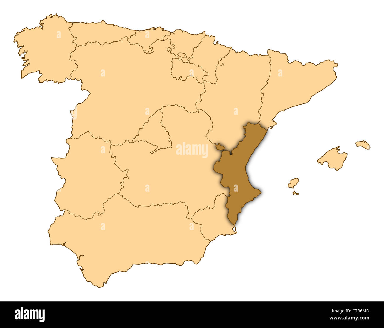 Map of Spain where Valencian Community is highlighted Stock Photo ...