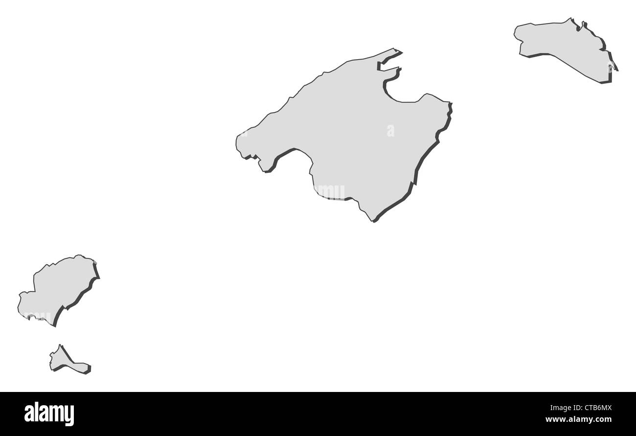 Map of Balearic Islands, a region of Spain. - Stock Image