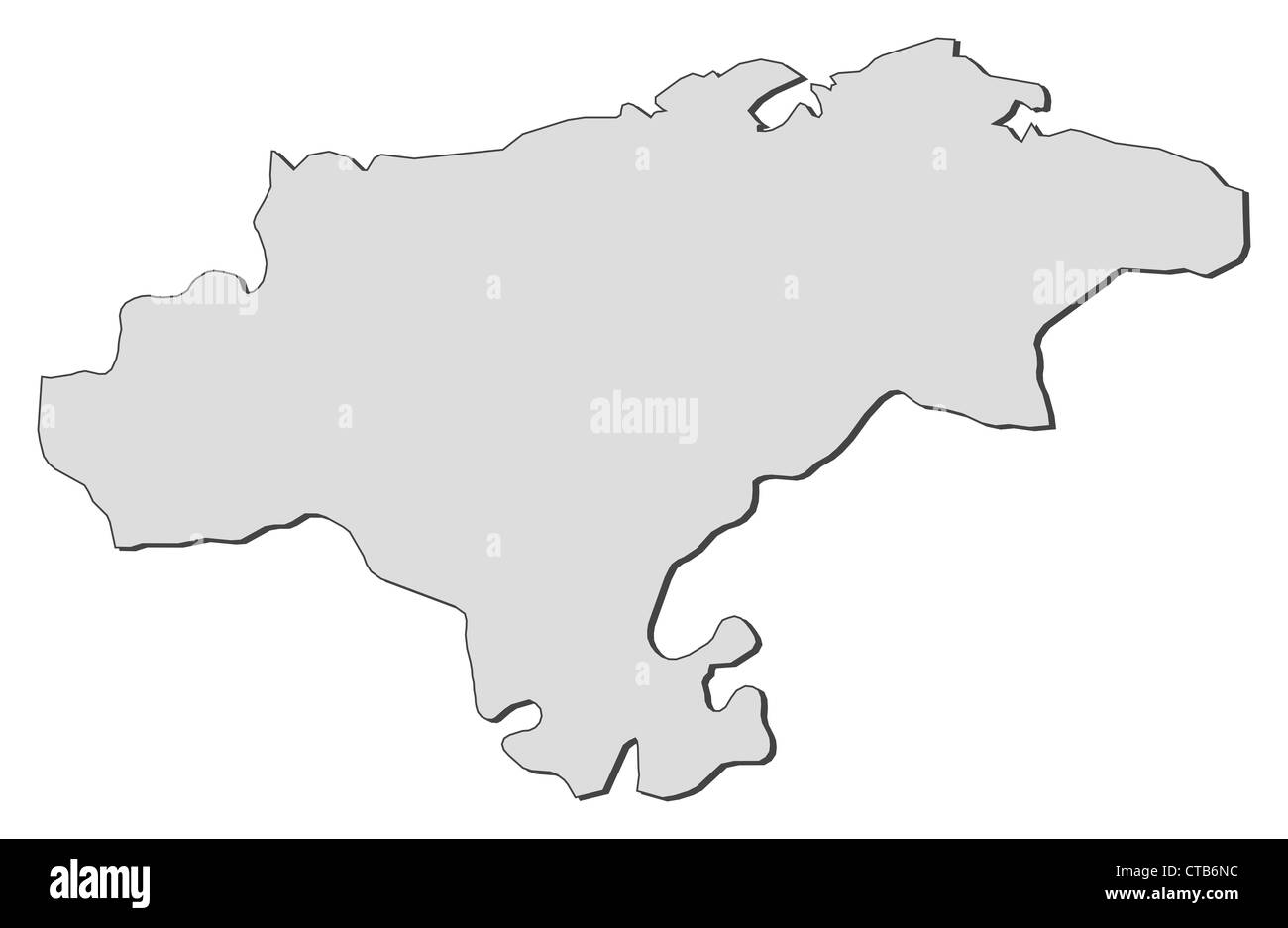 Map of Cantabria, a region of Spain. - Stock Image
