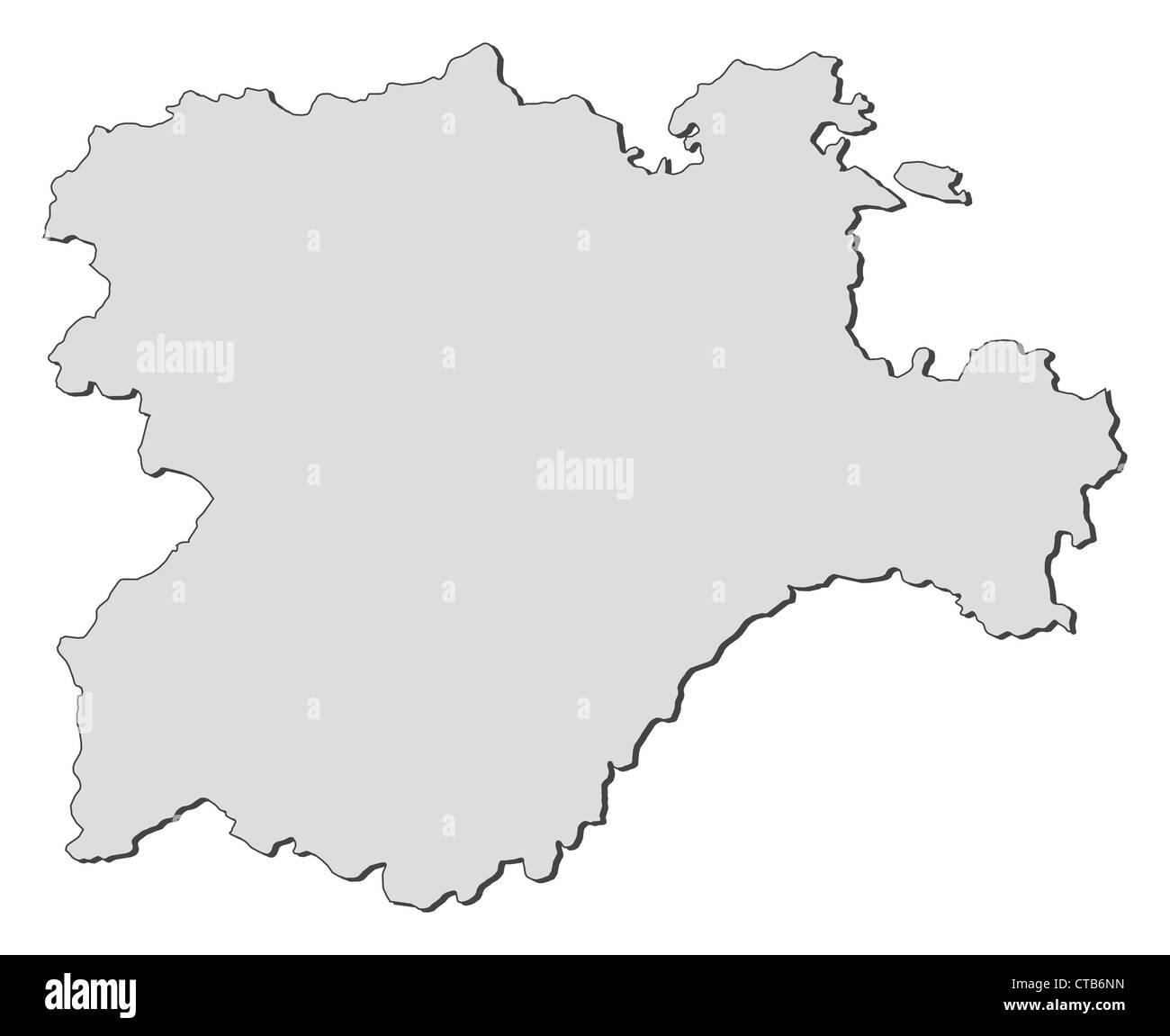 Map of Castile and León, a region of Spain. - Stock Image