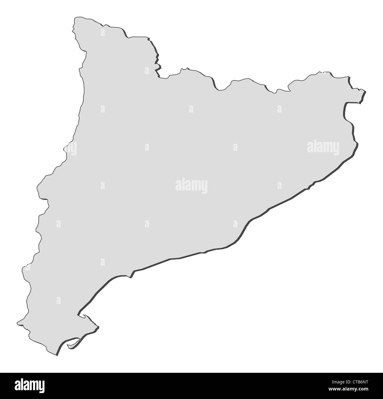 Map of Catalonia, a region of Spain. - Stock Image