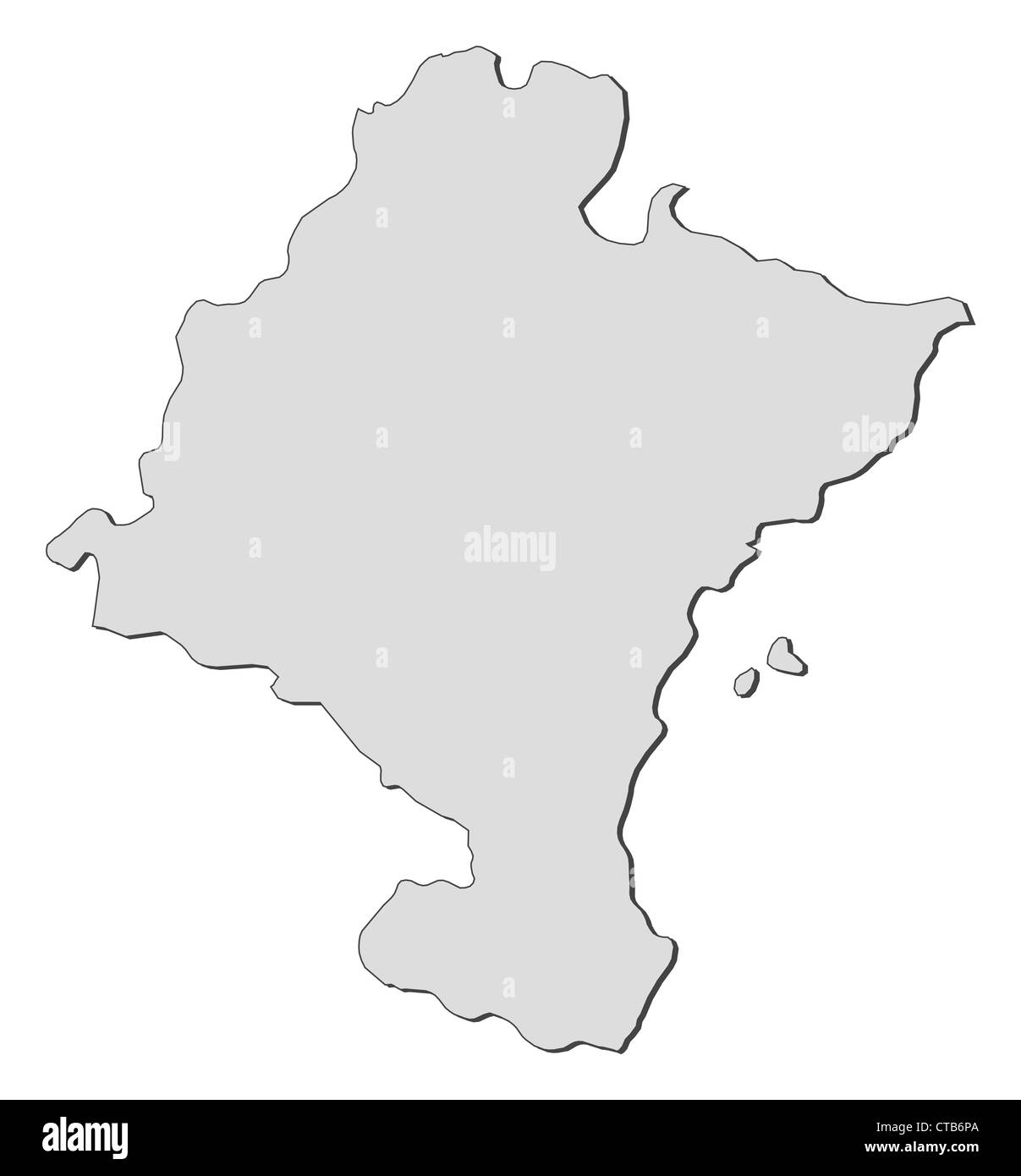 Map of Navarre, a region of Spain. - Stock Image