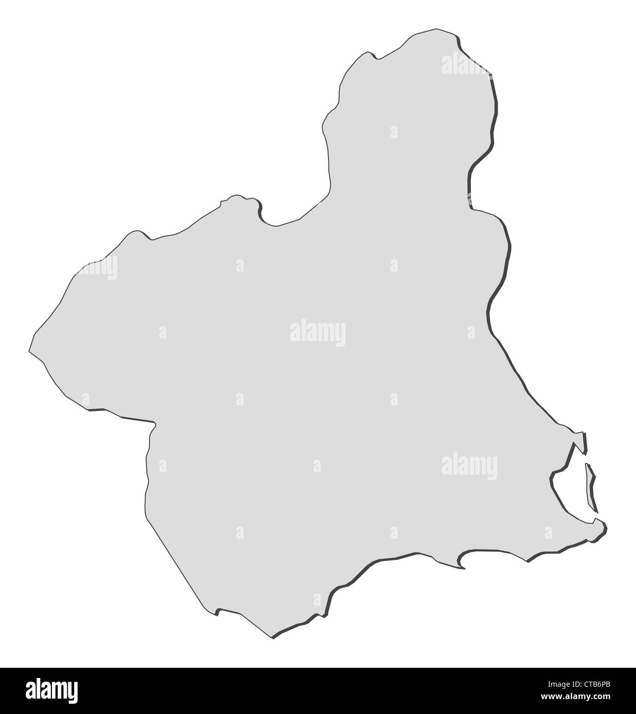 Map of Murcia, a region of Spain. - Stock Image
