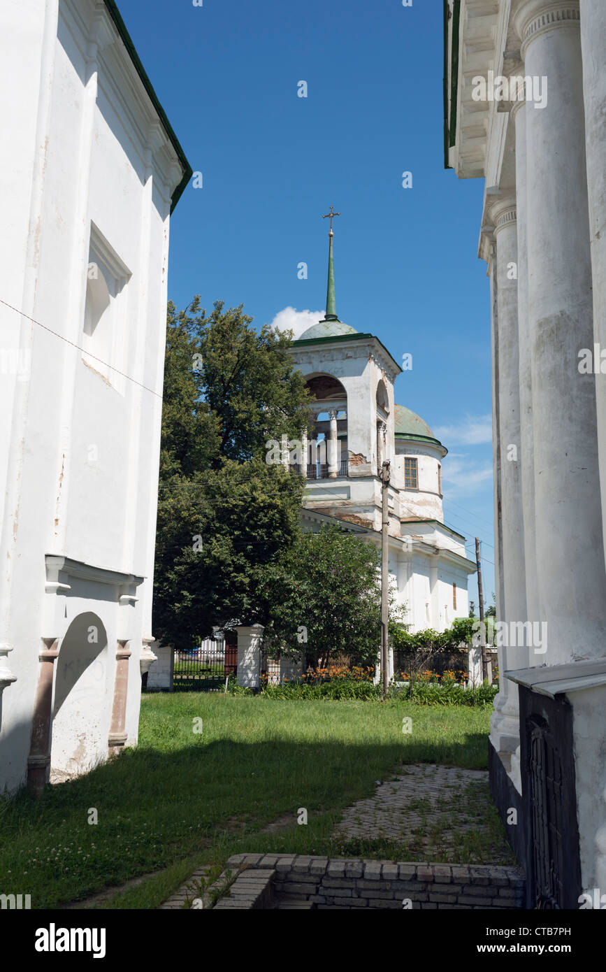 Three greek churches in Nizhyn. Church of the Holy Trinity (1727-1733) in the centre - Stock Image