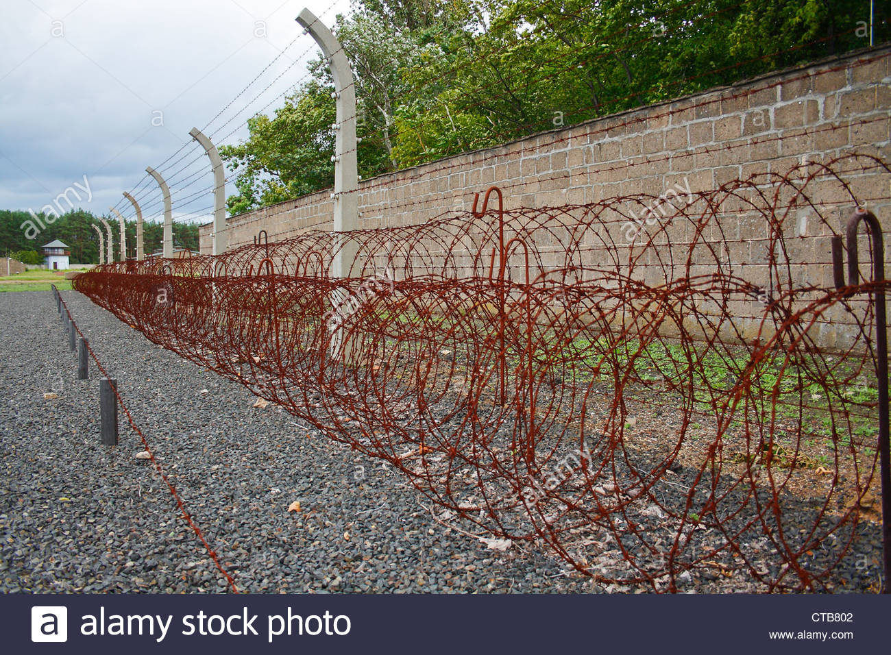 Wire fence Sachsenhausen concentration camp, in Oranienburg, Germany. - Stock Image