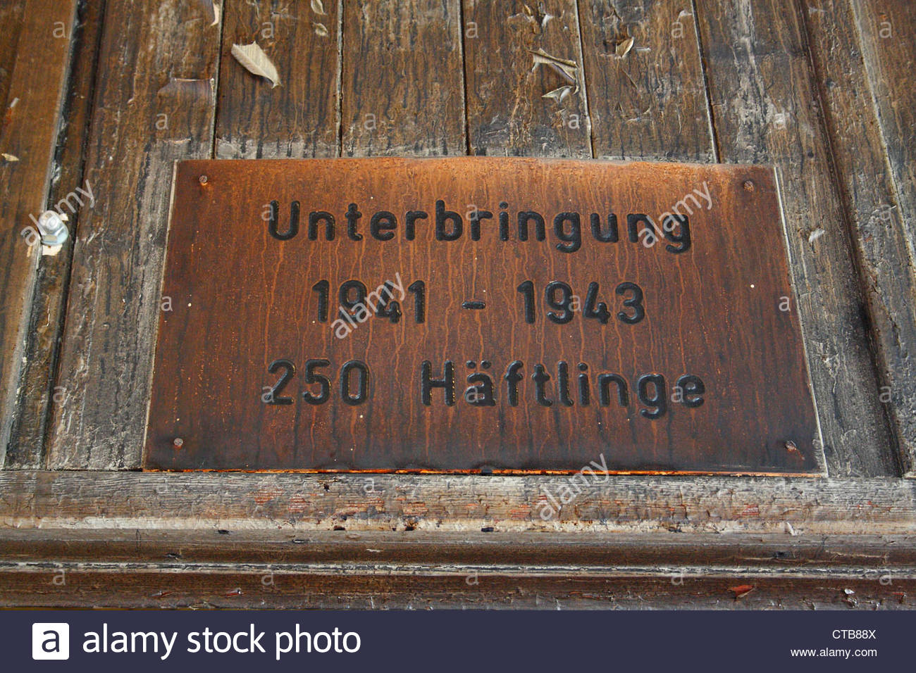 Sign Sachsenhausen concentration camp, in Oranienburg, Germany. - Stock Image