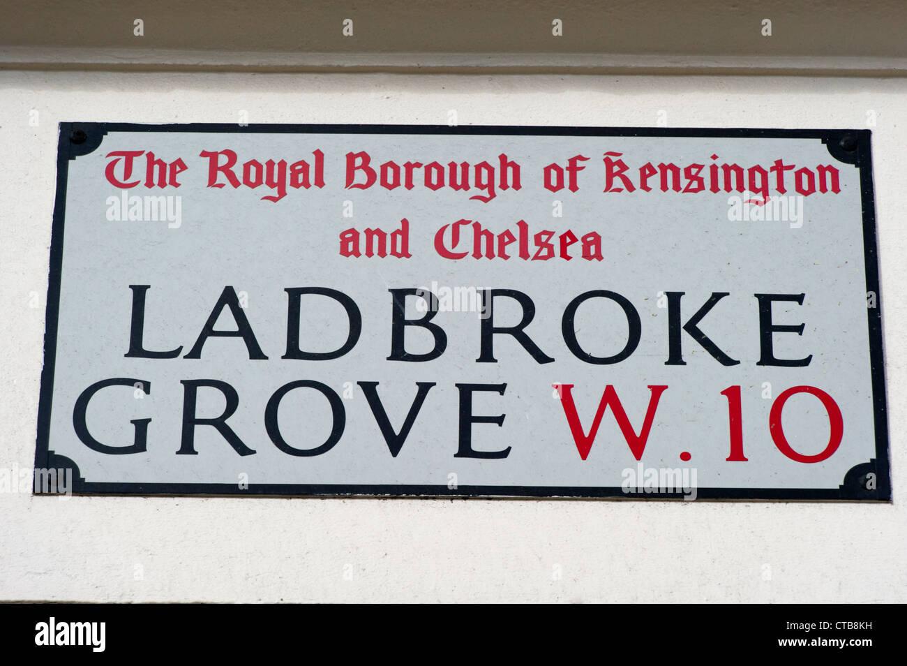 Ladbroke Grove, W.10 street sign Stock Photo