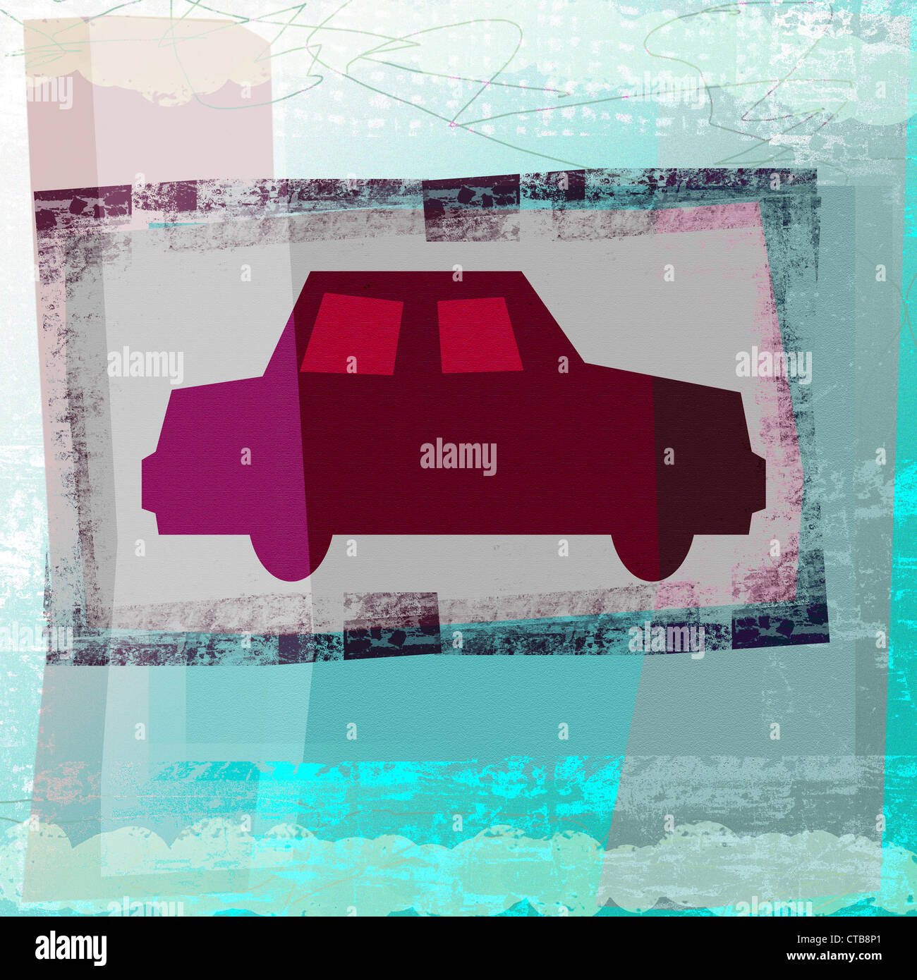 Car illustration on grunge texture Stock Photo