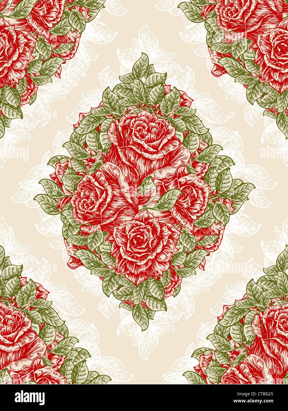 Vector Vintage Seamless Floral Wallpaper With Roses