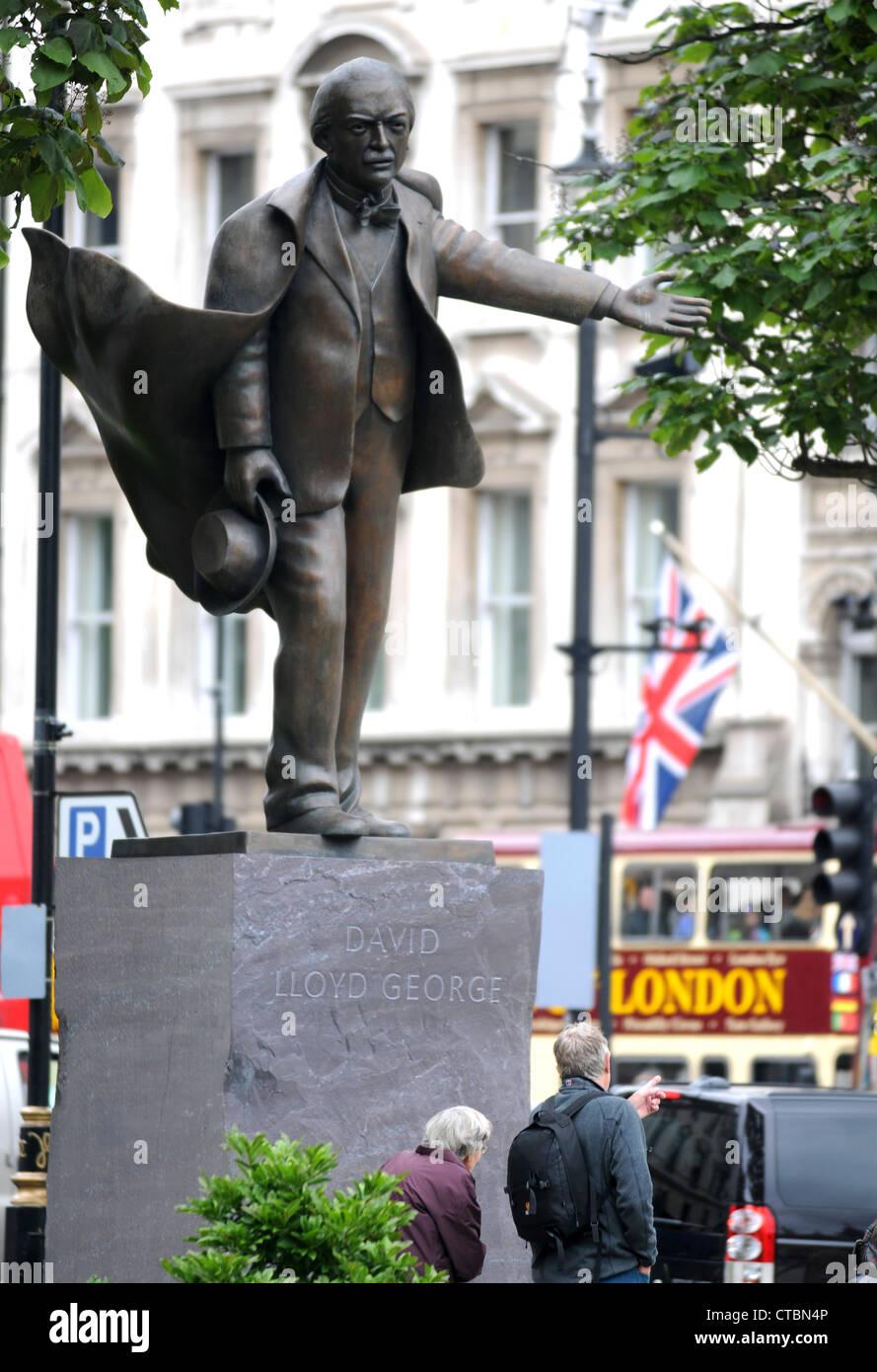 David Lloyd George statue, Prime Minister David Lloyd George, London, Britain, UK - Stock Image