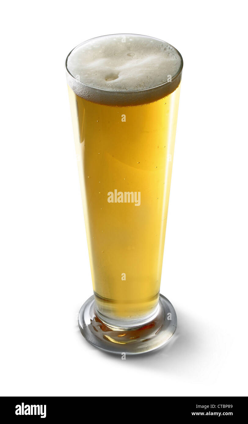 glass of light beer - Stock Image