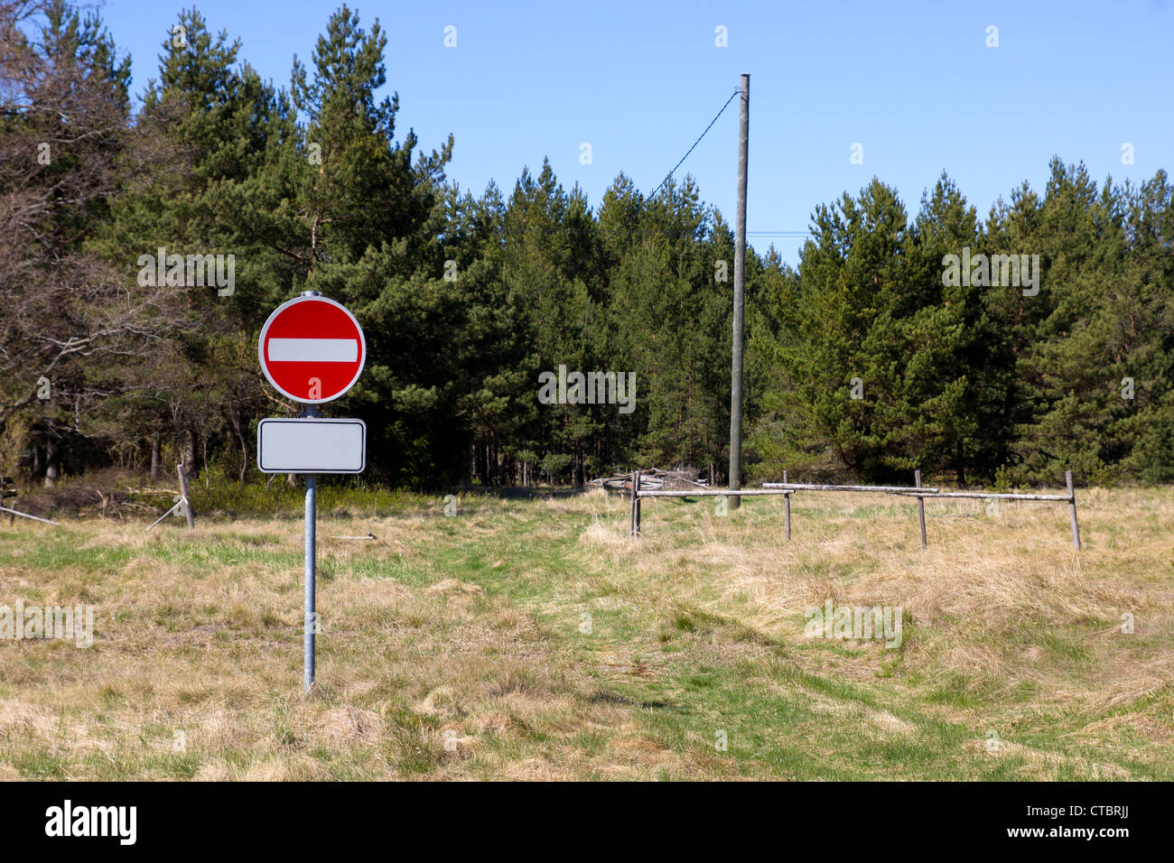 No Entry sign in forest, no road - Stock Image