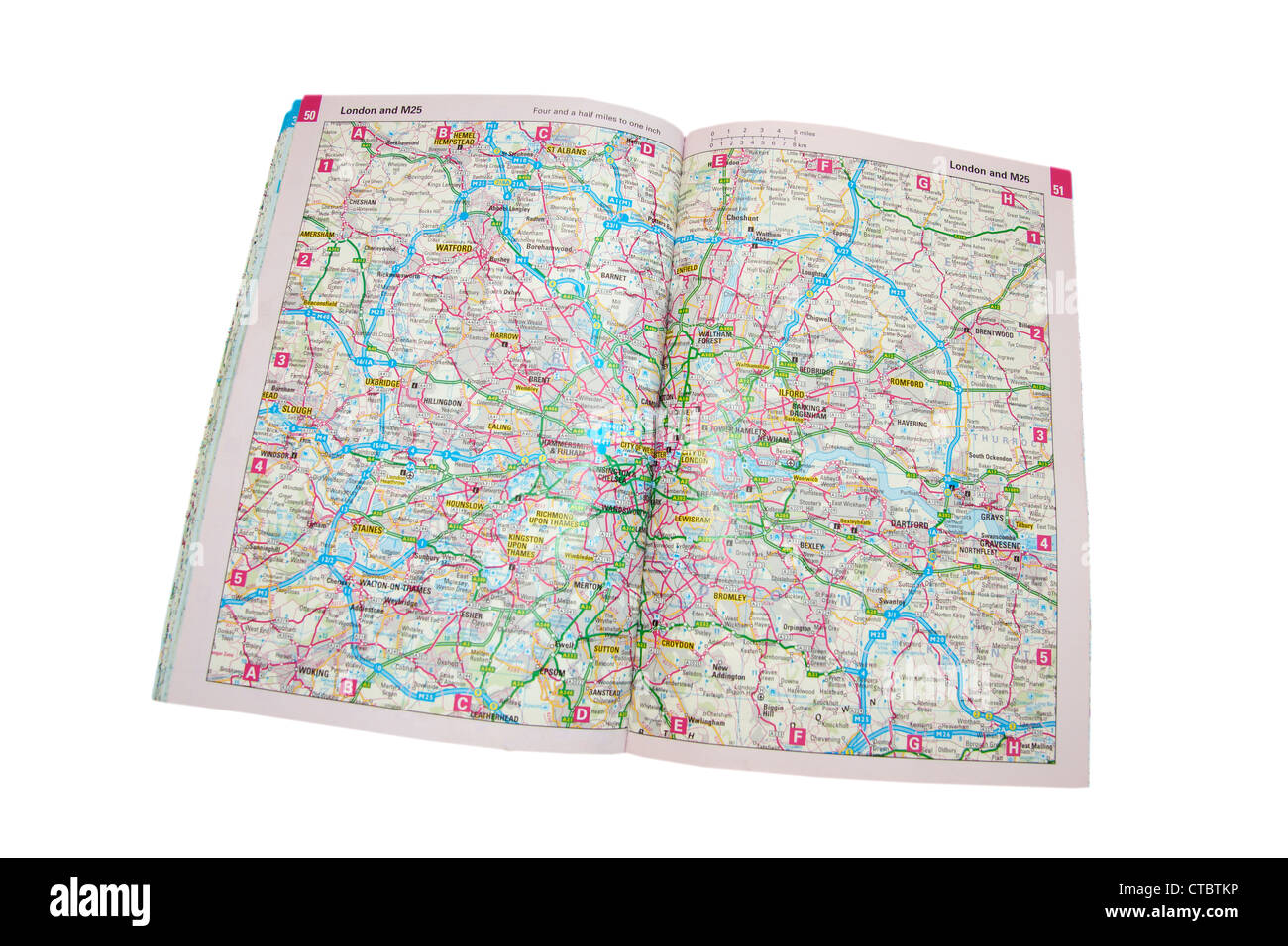 Map Of England Showing London.A Traditional Paper Map Maps Of England Showing The M25 London