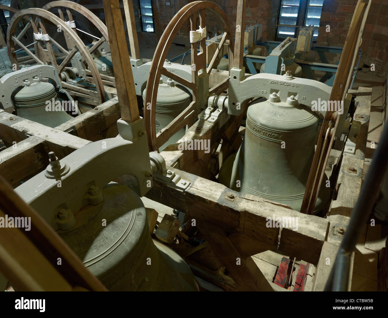 Tewkesbury Abbey Bells in the tower - Stock Image